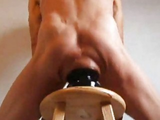 Solo gay man tries the biggest dildo in his ass