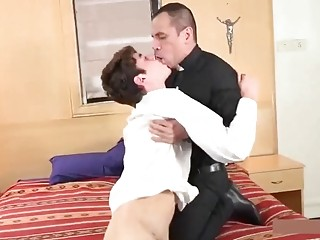 Horny and hung priest fucks his son
