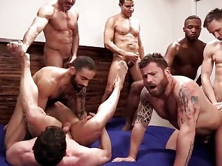 Massive orgy with hot and hung guys