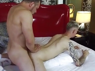 Two gay daddies get off on fucking this cutie's tight ass