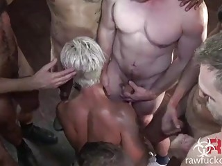 Blonde slut is left a mess after a hardcore gay gangbang
