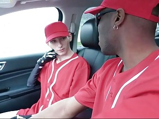 Black guy gets rough during gay sex in a car