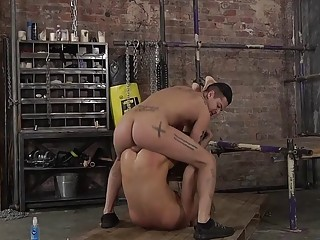 Bound boy is rimmed during BDSM teasing