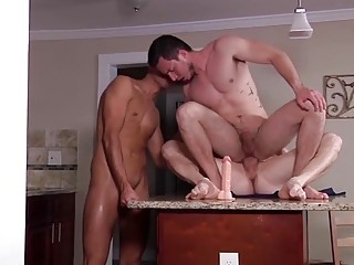 Cock-hungry gay caught between two pounding dicks