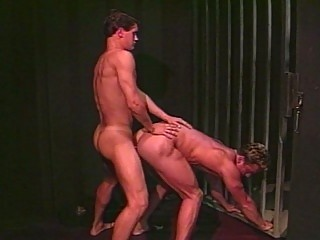 Muscle gay guys doggy style fucking in jail