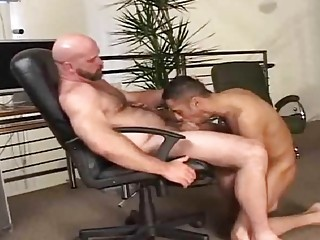 Young lad sucks his boss's dick then fucks in the ass