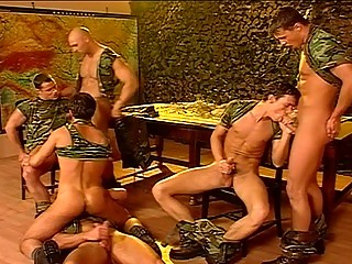Gay group porn in the military for the horny lads