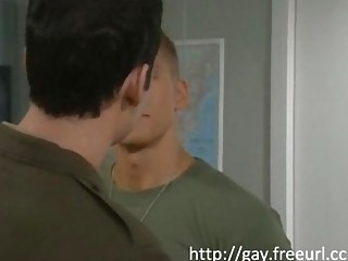 Lad sucks the general's cock then bends the ass