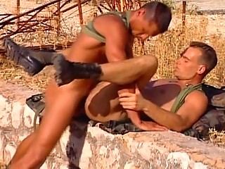 Horny army men are needy for some anal in the sun