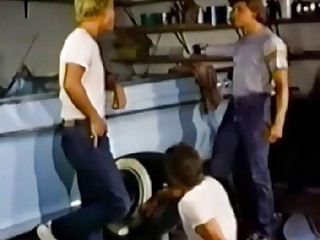 Vintage gay orgy movie in a garage