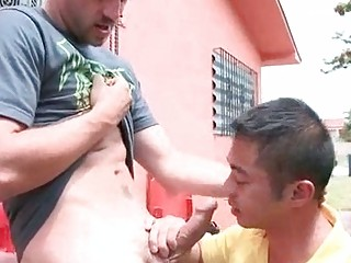 Young gay lad kneels to suck and fuck like a whore