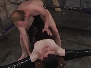 Aurora bound tight during an intense blowjob
