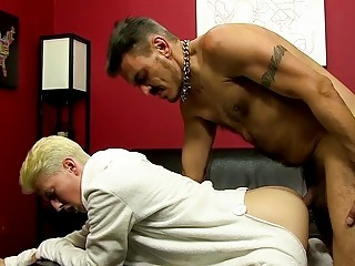 Skinny blonde twink bent over by stud and dicked down