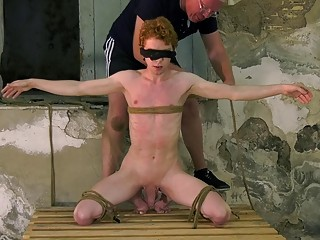 Submissive redhead twink tied up and blindfolded for gay domination