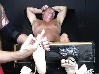 Jock with a tickling fetish tied up for gay domination