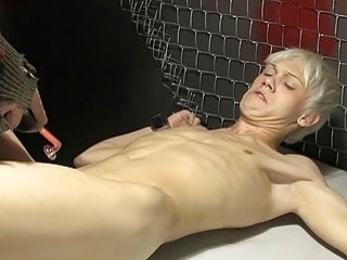 Submissive blonde twink tied up for toy play and blowjobs