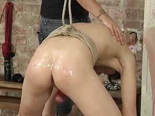 Submissive twink tied up to have his tight ass ravaged