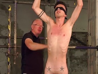 Skinny twink tied up and dominated during gay BDSM play