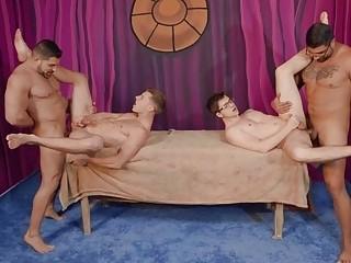 Hardcore gay sex with Ryan Bones, Damien Stone, Justin Matthews and Will Braun