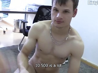 Czech gay hooker services a dick and gets pounded for cash
