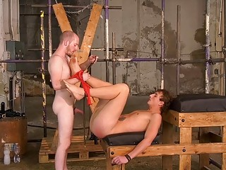 Bound BDSM twink is toyed and teased before sex