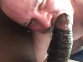 Gay senior swallows this black guy's entire snake