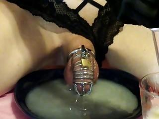 Crossdressing pervert has been saving cum for this