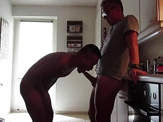 Daddy fucks an Asian slut in the kitchen
