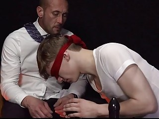 Blindfolded cutie is pounded by his older daddy