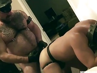 Leather daddy fucks his boy deep and good