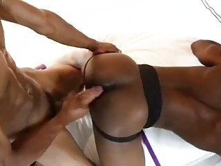 Dominating black daddy rams a tied-up and blindfolded stud