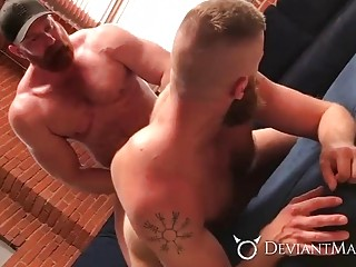 Bearded bears grunt and groan during anal sex