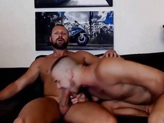 Younger man slut swallows his daddy's tasty pecker