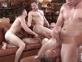 No one's ass is safe during this bareback gangbang