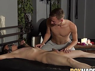 Bound twink receives a blowjob before getting cum on face