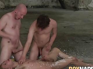 Twink has his balls sucked while he masturbates hard