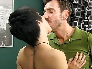 Slim emo twink fucked by buff old daddy