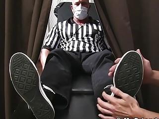 Hunk coach toe licking massage