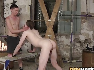 Submissive twink ass drilled with dildo