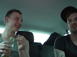 Adorable twink threesome banged in van